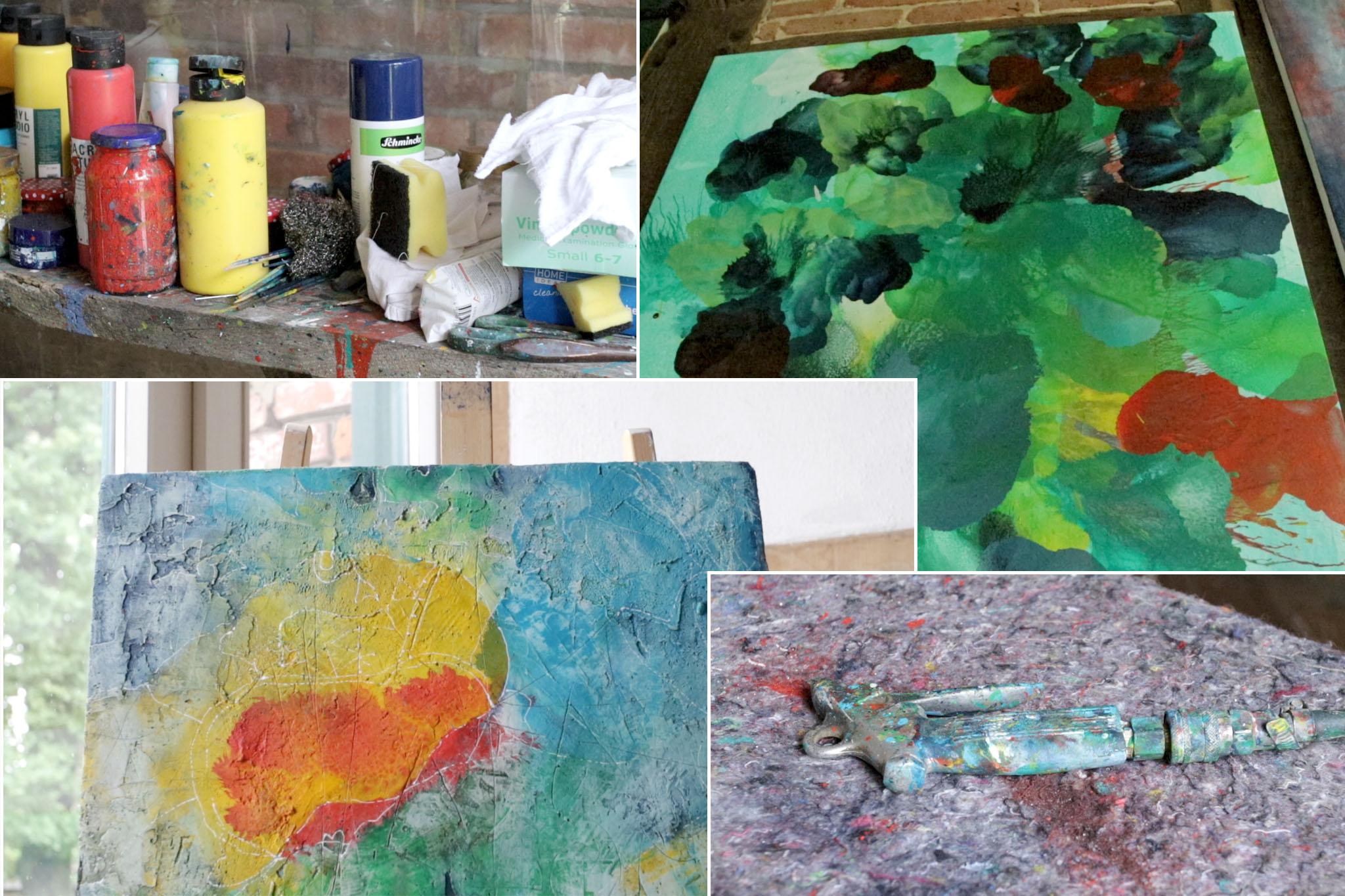 Foto-Collage aus Künstlerfarben, Airbrush und zwei Gemälden